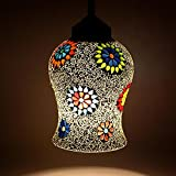 EarthenMetal Handcrafted Temple Bell Shaped Mosaic Crystal Decorated Glass Hanging Light