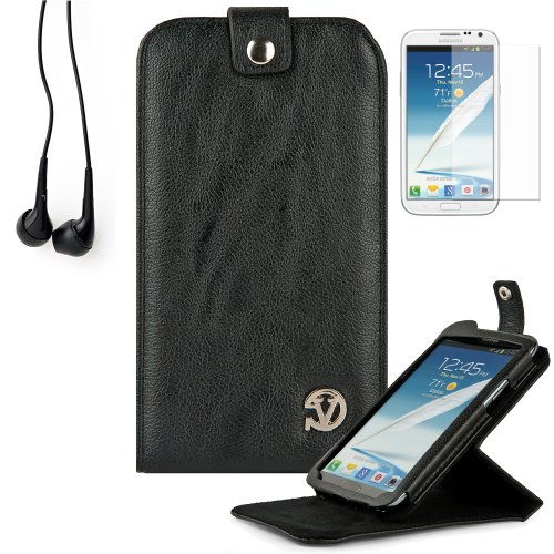Reinforced Samsung Galaxy Note Ii 2 Leather Case Cover With Stand - (Vangoddy Repetto Black) + Black Earbud Earphones + Custom Samsung Galaxy Note 2 Screen Protector