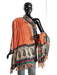 DollsofIndia Saffron Bhagalpuri Silk Chunni With Paisley Design And Temple Border - Silk Tussar - Saffron, Multicolor...