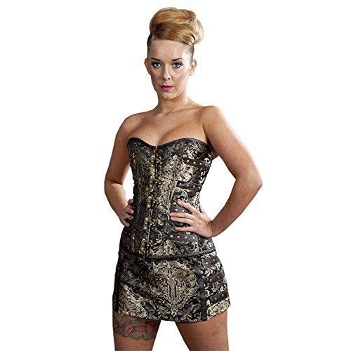 Gonna Burleska C Lock Steampunk Mini (Oro Reale) - Medium