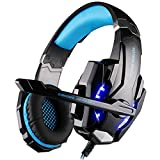 [Newer Version]VersionTech G9000 LED Surround Gaming Headphones Bass Stereo Headset with Mic for PS4 Games (Mac PC Computer Laptop Cell Phone Compatible, Black and Blue)