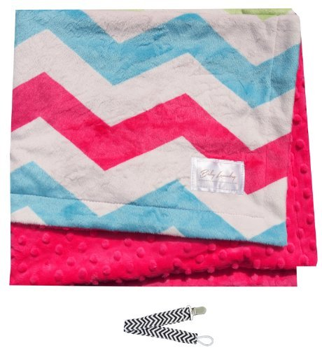 Baby Laundry 91329 Hot Pink Chevron Minky Baby Blanket with Pacifier Clip
