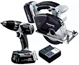 """Panasonic EYC194LR 14.4-Volt Li-ion Combo Kit with Drill / Driver and 5-3/8"""" Metal Cutter Saw with (2) 3.3Ah Batteries"""