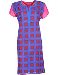 Elegant Raw Silk Women Kurta (29822 Viry, Blue & Maroon, Free Size)