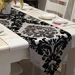 Table runners and silver Table .com  Diaidi  Embroidered Damask  Black  Silver table Runner,