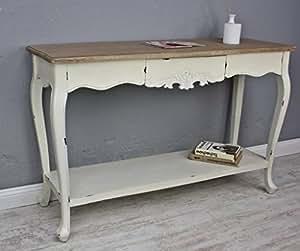 Console tavolo scrittoio bianco anticato in legno rustico - Tavolo bianco anticato ...
