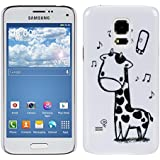 kwmobile Hardcase H�lle f�r Samsung Galaxy S5 Mini G800 mit Giraffen Design - Hartschale Backcover Case Schutzh�lle Cover in Schwarz Wei�