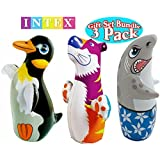 Intex 3D Bop Bag Blow Up Inflatable Penguin, Shark & Tiger Gift Set Bundle - 3 Pack