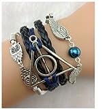 LovEnter Handmade Vintage Owls for Harry Potter Deathly Hollows Wings Leather Bracelet