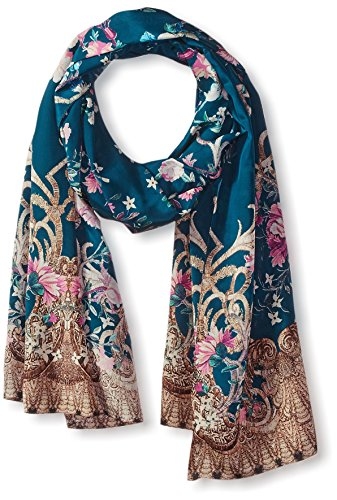 Roberto-Cavalli-Womens-Patterned-Silk-Scarf-BlueMulti