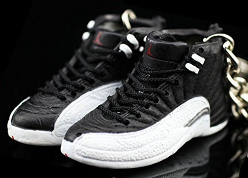 Air Jordan XII 12 Retro Playoff Black White OG Sneakers Shoes 3D Keychain Figure