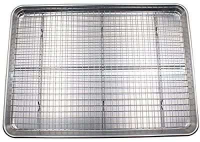 Checkered Chef Half Sheet Pan and Rack Set - Aluminum Cookie Sheet/Baking Tray with Stainless Steel Oven Safe Cooling Rack