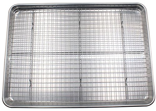 Checkered Chef Half Sheet Pan and Rack Set - Aluminum Cookie Sheet/Baking Tray with Stainless Steel Oven Safe Cooling Rack (Wire Rack And Pan For Baking compare prices)