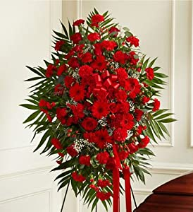 1800Flowers - Deepest Sympathies Standing Spray - Red - Medium