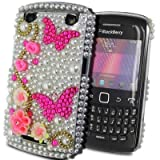 Diamond Butterfly Flower Series - Hard Mobile Phone Case Cover Cover For BlackBerry Curve 9360 / White