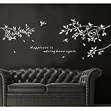 PVC Branches Birds Door Room Art Mural Wall Sticker Decal-White