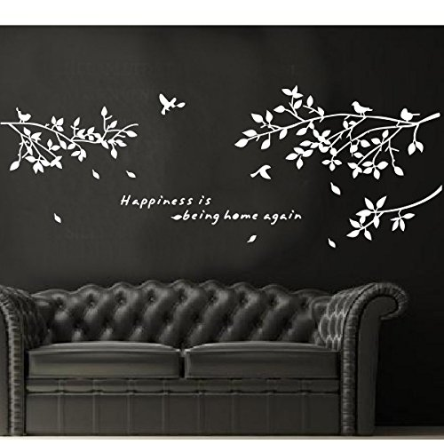 Tree Branches Wall Decal Love Birds Vinyl Sticker Nursery Leaves-White front-834647