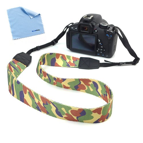Birugear Camouflage Comfortable Camera Shoulder / Neck Strap Belt For Canon Nikon Fujifilm Sony Pentax Panansonic And More Digital Cameras Or Binoculars With Cleaning Cloth