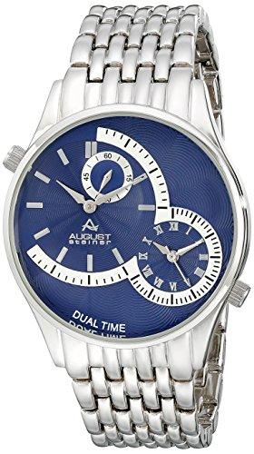 August Steiner Men's Silver-Tone Dual-Time Watch