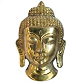 Head of Buddha Brass Statue Handmade Collectibles Figurine from India 14.61 x 5.08 x 8.89 cms
