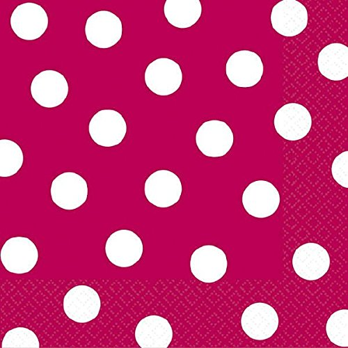 "Amscan Decorative Raspberry Dot Party Beverage Paper Napkins (16 Pack), 5 x 5"", Red"