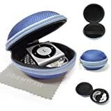 LOVE MY CASE / BLUE Fabric MP3 Player Case, cover, shell - Clamshell Style with Zip Enclosure, designed Inner Pocket, Durable Exterior Apple iPod Shuffle 2nd / 3rd / 4th Generation with Love my Case Cleaning cloth