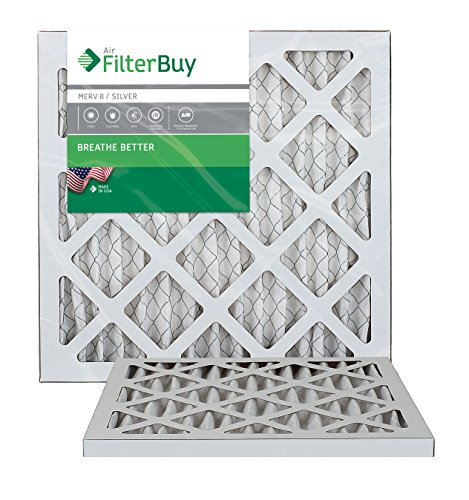 AFB Silver MERV 8 14x18x1 Pleated AC Furnace Air Filter. Pack of 2 Filters. 100% produced in the USA. (Hvac Filter 14x18x1 compare prices)