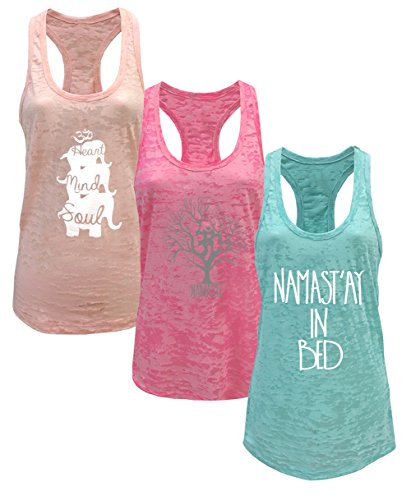 Tough Cookie's Women's Yoga Burnout Tank Top 3 Pack Deal Printed Arts (Medium, Light Peach/Neon Pink/Mint)
