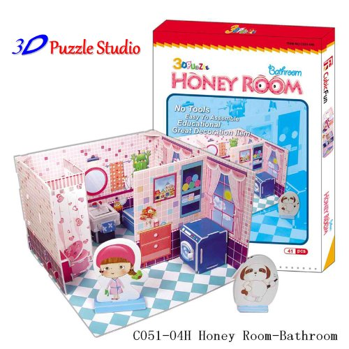 3D Puzzle Honey Room Bathroom. Cute for Kids, fun & educational. - 1