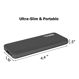 Koral Luma 3000 Portable Charger - Compact 3000mAh Power Bank (External Battery) for iPhone 6, 7, 8, X, iPad, Kindle, Samsung Galaxy & All Android (Gr