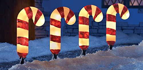 Candy Cane Garden Path Light Stakes - Set Of 4