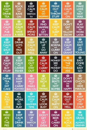 Keep Calm and Carry On Collage Art Poster Print - 24x36