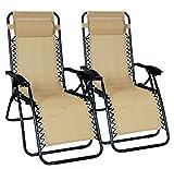 Odaof Zero Gravity Recliner Lounge Patio Pool Chair - 2 PACK (Cream)
