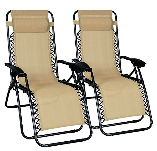 Odaof Adjustable Infinity Zero Gravity Chair Recliner Patio Chairs Outdoor Lounge Chair Pool Folding Beach Chairs - 2 Pack, Cream