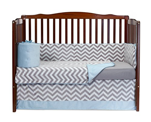 Baby Doll Minky Chevron 4 Piece Crib Bedding Set, Blue