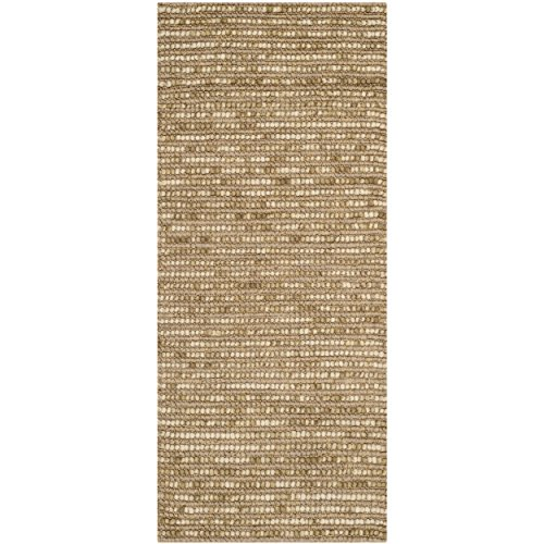 Safavieh Bohemian Collection BOH525F Hand-knotted Beige and Multi Hemp and Jute Area Runner, 2 feet 6 inches by 6 feet (2'6