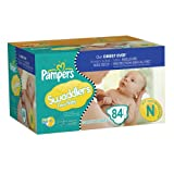 Pampers Swaddlers Size Newborn Diapers Big Pack, 84 Count (Packaging May Vary)