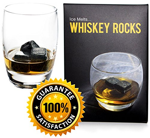 Whiskey Rocks - Premium Granite Whiskey Stones Set Black - Pure Granite - Set of 9 Whisky Chilling Stone