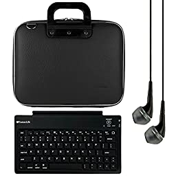 SumacLife Cady 10.1-inch Tablet Messenger Bag for Fire HD 10 with Black Headphones (Black)