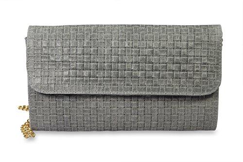 IOIOMIO-echt-Leder-Damentasche-Clutch-o-Schulertasche-geflochten-grau-25x15x3-cm-B-x-H-x-T