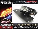 バイク 汎用 LED テール ランプ ナンバー灯 取付 黒 / クリア