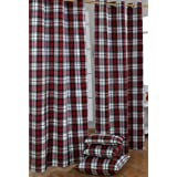 Cotton Macduff Tartan Check Ready Made Red Green White Curtain Pair