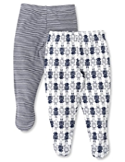 2 Pack Pure Cotton Robot Print Crawler Bottoms