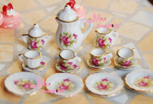 Free Shipping! Lot Of 15 Flower Porcelain Dollhouse Miniature Coffee Tea Cup Set Dc94