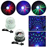 TSSS® LED RGB LED Crystal Wall Mount 3D Effects Stage Lights For Party Show Wedding Christmas Celebration Disco DJ Club Pub Bar KTV Decoration, Automatically Sound Activated (Black)