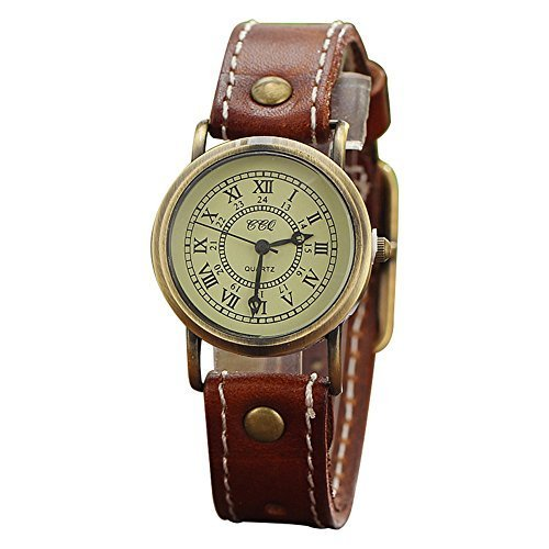 Vintage Retro Leather Strap Women's Quartz Fashion Wrist Watch(Brown)
