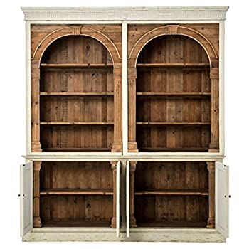 Laurine French Country Rustic Ivory Arch Wood Cabinet