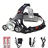 Lethu 5000 Lumen Waterproof LED Headlamp Headlight Rechargeable Head Flashlight Lamp with 3 Xm-l T6 4 Modes Outdoor Sports Hiking Camping Riding Fishing Hunting (Super bright)