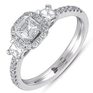 14k 1.06 Dwt Diamond White Gold Three Stone Ring - JewelryWeb