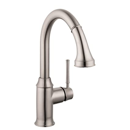 Hansgrohe 4216800 Talis C Prep Kitchen Faucet with Pull Down 2-Spray, Steel Optik